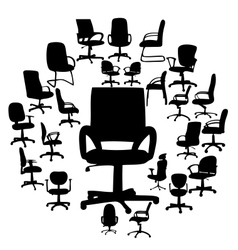 Office chairs silhouettes vector