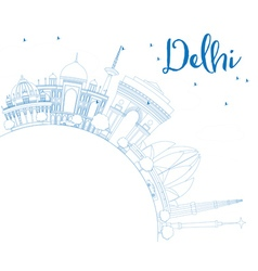 Outline delhi skyline with blue buildings vector