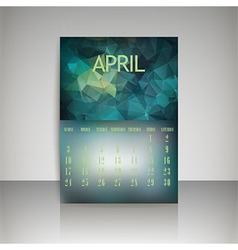 Polygonal 2016 calendar design for april month vector image