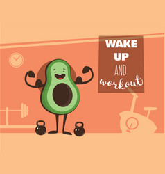 poster of happy avocado exercise at a gym healthy vector image