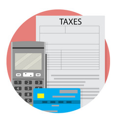 Remote taxation icon app flat vector