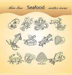 seafood thin line icons set vector image