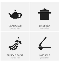 Set of 4 editable cook icons includes symbols vector