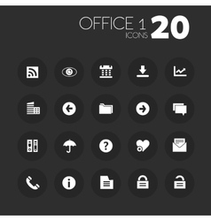 Thin office 1 icons on dark gray vector image