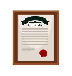 University diploma with red seal in wooden frame vector