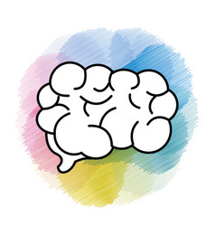 Watercolor mental health smart brain icon vector
