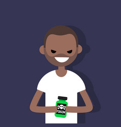Young angry black character holding a bottle with vector
