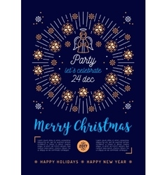 Christmas poster Holiday Xmas party flyer vector image
