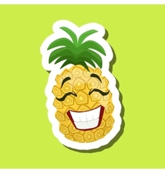 Pineapple Laughing Cute Emoji Sticker On Green vector image
