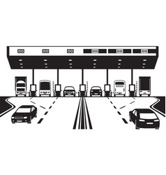 Toll tax plaza on highway vector