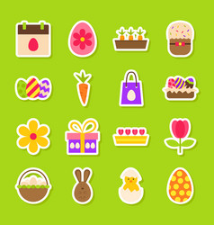 Happy easter spring stickers vector