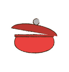 red saucepan pot cooking vector image