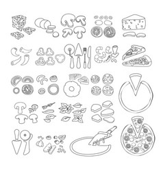 Pizza icon set of pizza ingredient icons vect vector