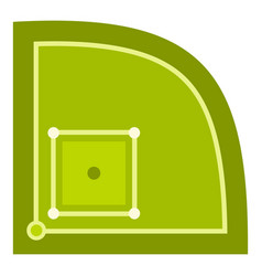 Green baseball field icon isolated vector