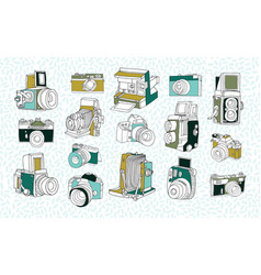 Set of different photo cameras hand drawn vector