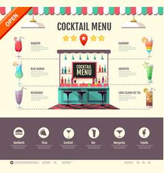Flat style cocktail bar design web site design vector