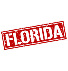 Florida red square stamp vector