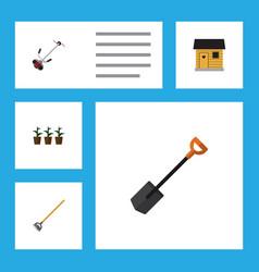 Flat icon farm set of spade flowerpot grass vector