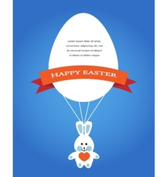 Happy easter cards with eggs bunny and rabbit vector image