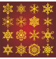 gold snow-flakes vector image