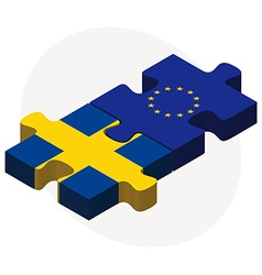 European union and sweden flags in puzzle vector