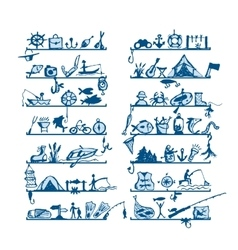 Shelves with fishing icons sketch for your design vector image