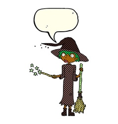 Cartoon witch casting spell with speech bubble vector