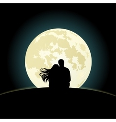 Couple on a hill sitting under the moonlight vector