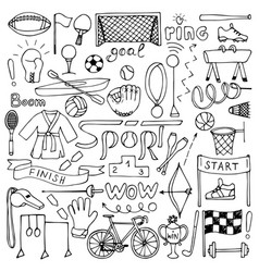 Hand drawn sport equipment set vector