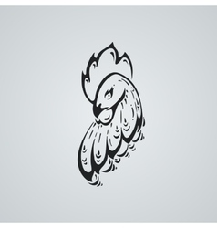 Rooster tatto ilustration stylized head of a cock vector