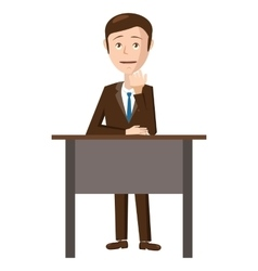 Businessman sitting in office icon cartoon style vector