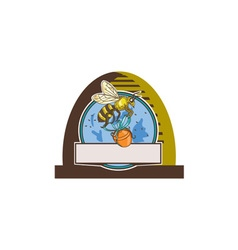 Bee carrying honey pot skep circle drawing vector