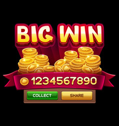 big win screen vector image vector image