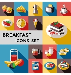 Breakfast Square Icon Set vector image vector image