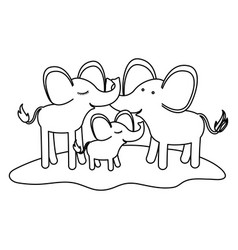 Cartoon couple elephants and calf over grass in vector