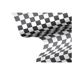 checkered flag wave white blank space sport race vector image