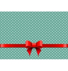 Christmas background with polka dots and red bow vector