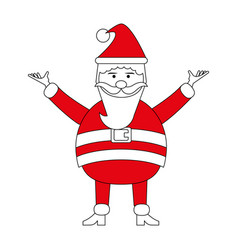 Color silhouette image cartoon full body fat santa vector