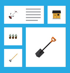 Flat icon farm set of spade flowerpot grass vector