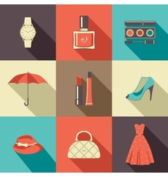 Flat icons with accessories vector image