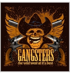 Gangster skull with cowboy hat and pistols vector image vector image