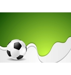 Green wavy soccer background with ball vector image