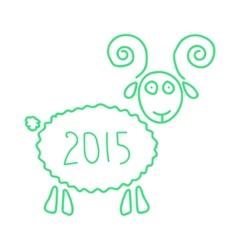 green wooden sheep like symbol of 2015 year vector image