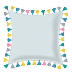 Grey pillow decorated with colorful vector