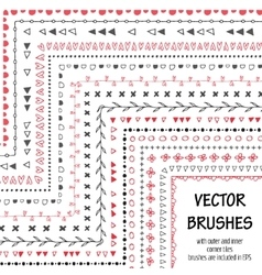 Hand drawn decorative brushes with inner vector