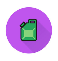 jerrycan icon on round background vector image vector image