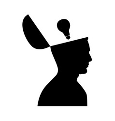 man with lightbulb idea in open head vector image