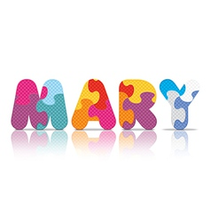 Mary written with alphabet puzzle vector