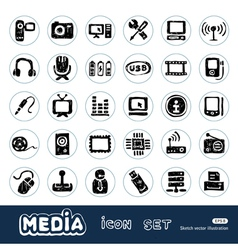Media and social network web icons set vector image