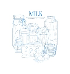 Milk and dairy products hand drawn realistic vector